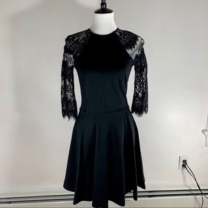 Black Lace A-Line Skater Mini Dress